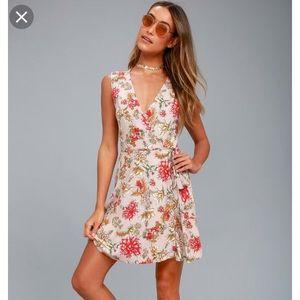 Lulus Best In Bloom Floral Print Wrap Dress S
